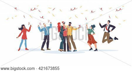 Vector Cartoon Flat Characters Friends Happy Hugging, Rejoice Together, Friendly Team Of Young Peopl