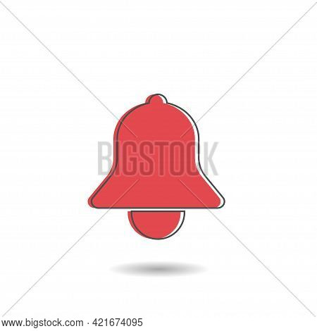 Red Bell Vector Icon For Apps Like Youtube, Alert Ringing Or Subscriber Alarm Symbol