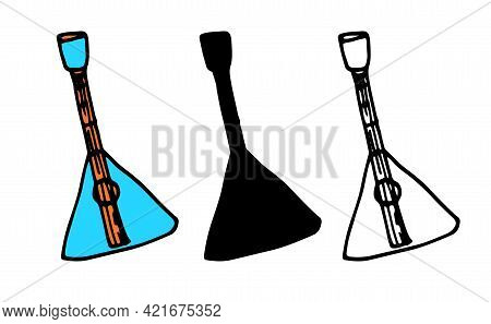 Vector Balalaika Or Magdol. Hand-drawn Set Of Isolated Elements In Doodle Style Musical String Instr