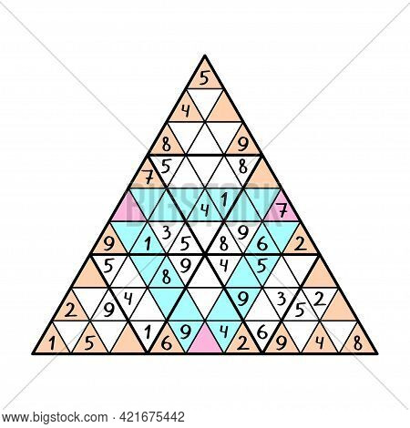Logical Number Puzzle - Unusual Triangular Sudoku Colorful Vector Illustration. Full Each Big Triang