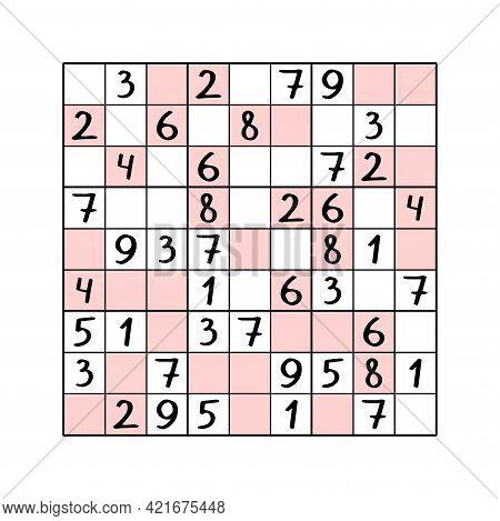 Even-odd Sudoku Colorful Number Puzzle For Children Stock Vector Illustration. Complete Sudoku - Pla
