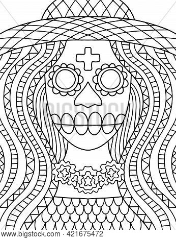 Dia De Muertos Skeleton Coloring Page For Adults Stock Vector Illustration. Hand-drawn Skeleton Lady