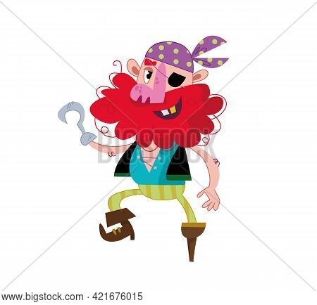 A Funny Pirate With A Wooden Leg, A Hook Instead Of An Arm And A Black Eye Patch. Vector Illustratio