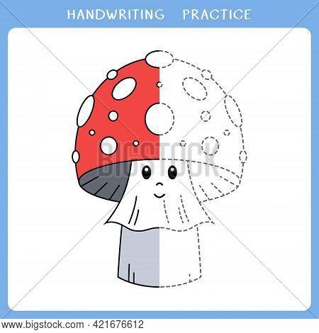 Handwriting Practice Sheet. Simple Educational Game For Kids. Vector Illustration Of Cute Mushroom F