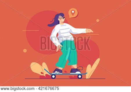 Fun Girl Riding On Skateboard Vector Illustration. Happy Young Woman Skateboarding Outdoors Flat Sty
