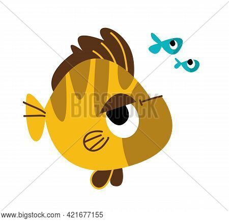 Yellow Striped Fish And Several Small Sea Fish. Collection Of Marine Fish. Vector Illustration Of A