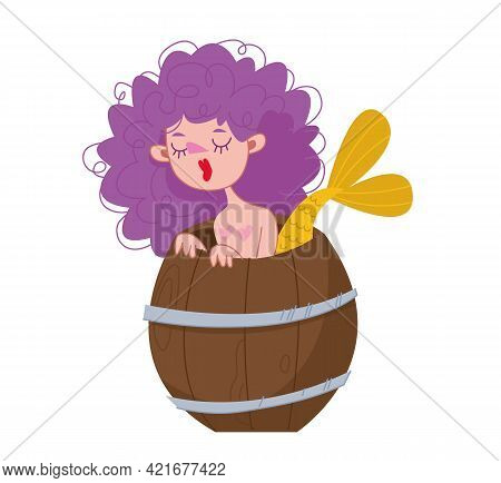 Curly Mermaid With Purple Hair. The Girl Looks Out From A Wooden Barrel. Mythological Sea Creature.