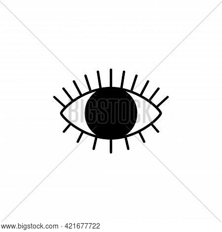 Idle Eye Icon With Eyelashes For A Website Or Application, As Well As A Silhouette For Laser Cutting