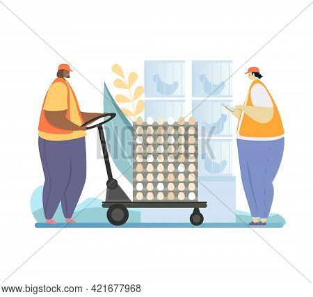 Chicken Eggs Poultry Farm. Man And Woman Of Mix Race Move Pallet To Storehouse Using Pallet Truck. F