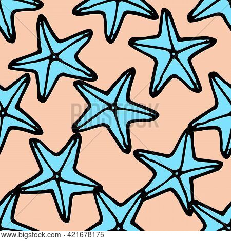 Vintage Pink Starfish Pattern Turquoise, Great Design For Any Purposes. Background Illustration Back