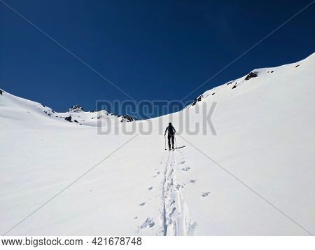 Ski Mountaineering On The Sentisch Horn From The Fluela Pass Near Davos Klosters In The Graubunden S