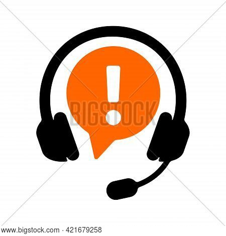 Call Center Sign With Headset And Exclamation Point Isolated On White Background. Customer Support O