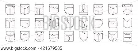 Patch Pocket Vector Icon, Buttons And Dotted Line Seam Of Jeans Shirt And Pants. Clothes Pockets Dif