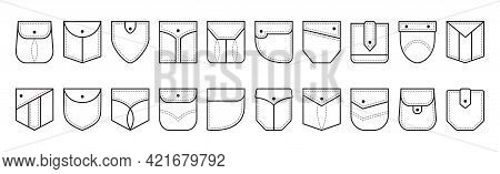 Patch Pocket Vector Icon, Buttons And Dotted Line Seam Of Jeans Shirt And Pants. Denim Clothes Pocke