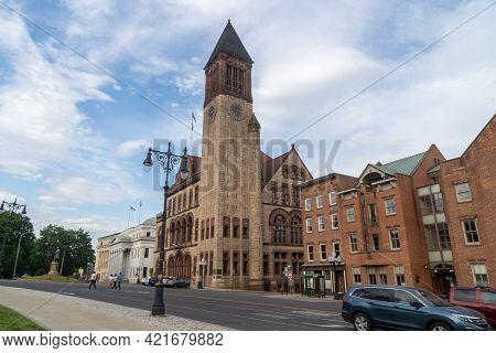 Albany, Ny - Usa - May 22, 2021: A Landscape View Of The Historic Richardsonian Romanesque Albany Ci