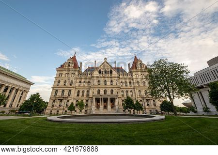 Albany, Ny - Usa - May 22, 2021: A Western View Of The Historic Romanesque Revival New York State Ca