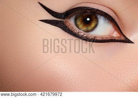 Beautiful Macro Shot Of Female Eye With Classic Eyeliner Makeup. Perfect Shape Of Eye Liner. Cosmeti