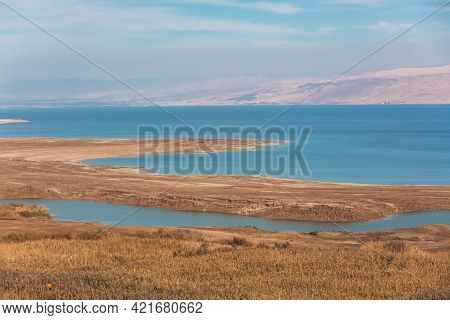 Panoramic View Of The Dead Sea In Israel And Jordan On The Other Side. Blue Water And Desert. Wild S