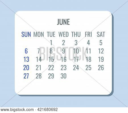 June Year 2021 Vector Monthly Plain Minimalist Simple Light Gray And White Calendar. Week Starting F