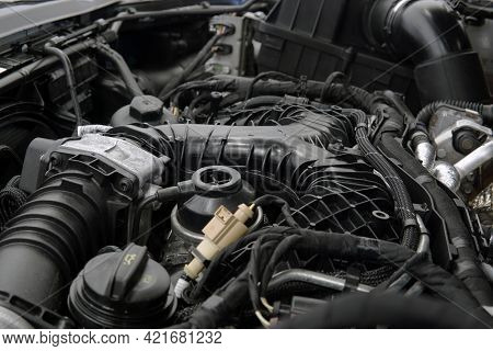 Close-up Of A Modern Powerful Engine. Top Section, Intake Manifold, Selected Focus.