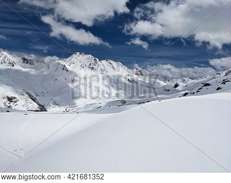 Skitour Sentisch Horn In Davos Klosters Near The Fluela Pass. Ski Mountaineering In The Beautiful Gr