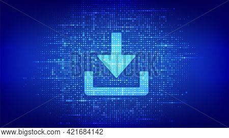 Download Icon Made With Binary Code. Download Cloed Data Storage. Install Symbol. Digital Binary Dat