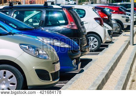 Reims France May 25, 2021 Cars Parked In The Streets Of The City Center Of The Metropolitan Area