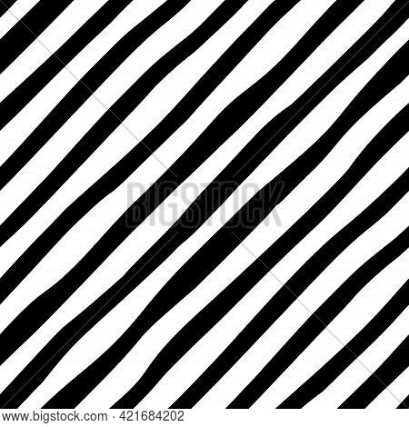 Black And White Diagonal Line Seamless Background. Hand Drawn Pattern With Diagonal Stripes Design.