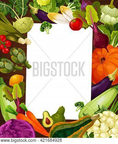 Farm Vegetables, Vegetarian Diet Recipe Frame. Vector Zucchini, Cauliflower And Eggplant, Pumpkin, B