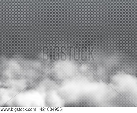 Fog Or Clouds, Vector Smoke, White Aroma Or Toxic Steaming Vapour, Dust Powder Isolated On Transpare