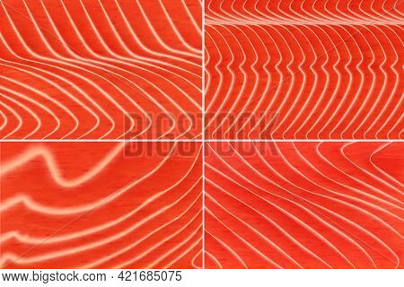 Salmon Fish Meat Texture Background. Trout Steak Fillet, Japanese Cuisine Seafood Delicacy, Sushi An