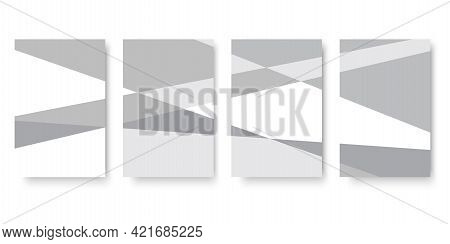 Gray Rectangles Composition For Booklet Design. Rectangle Design. Presentation Mockup. Vector Illust