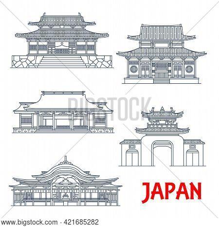 Japan Travel, Japanese Architecture Temples, Pagodas And Gates, Vector Landmark Buildings. Japanese
