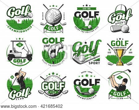 Golf Sport Icons, Golf Balls And Clubs. Vector Emblems With Sticks, Cart, Goblet And Sportsman On Fi