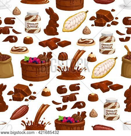 Chocolate Sweets, Pastry And Drinks Seamless Pattern. Cartoon Vector Cake With Berries And Cookies,