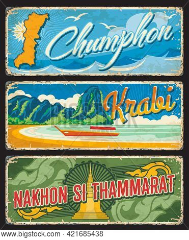 Chumphon, Krabi And Nakhon Si Thammarat Thailand Provinces Vintage Plates Or Banners. Vector Aged Tr
