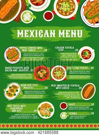 Mexican Cuisine Menu, Food Dishes And Mexico Meals, Vector Traditional Lunch And Dinner. Mexican Foo