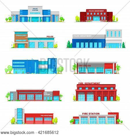 Police Department And Fire Station Building Icons. Vector Official Institutions Architecture, Govern