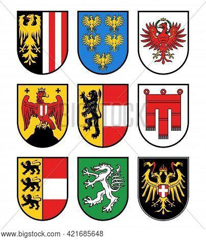 Austria Regions Heraldry, Austrian States Vector Coat Of Arms. Burgenland, Carinthia, And Lower Aust