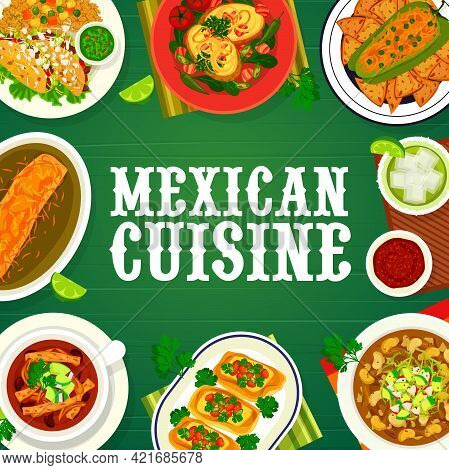 Mexican Food Cuisine Menu Cover, Mexico Restaurant Dishes And Meals, Vector. Traditional Mexican Cui