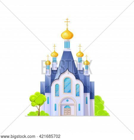 Orthodox Church Or Temple Building Icon, Christianity Cathedral, Vector Architecture. Orthodox Churc