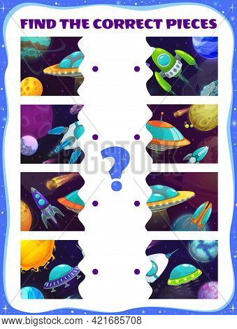 Find The Pieces Of Spaceships Game. Match The Halves Kids Test With Rockets, Vector Riddle For Child