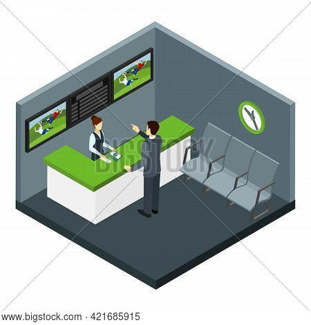 Bets And Gambling With Football And Sports Bets Symbols Isometric Vector Illustration