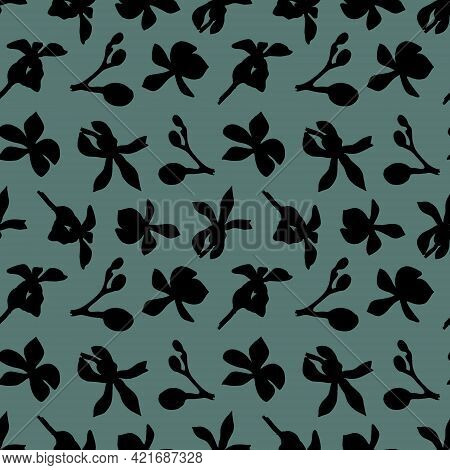 Seamless Botanical Pattern Of Orchid Silhouettes On A Green Background. Beautiful Botanical Illustra