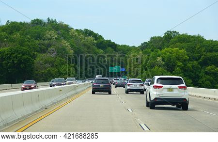 Cecil County, Maryland, U.s.a - May 17, 2021 - The Traffic On The Millard E Tydings Memorial Bridge