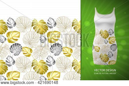 Hand Drawn Realistic Branches And Leaves Of Tropical Plants. Vivid Line Horizontal Leaves Pattern. G