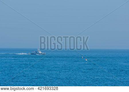 Sinjindo, South Korea; May 5, 2021: Port Side View Of Korean Police Frigate Patrolling Ocean Near Se