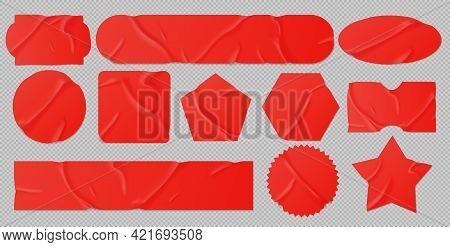 Red Glued Stickers Or Crumpled Paper Patches Mockup. Blank Shrunken Labels Of Different Shapes Round
