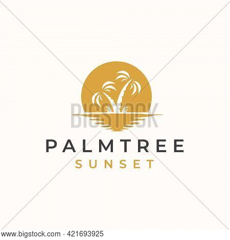 Palm Tree With Sunset Background Logo Template. Vector Illustration