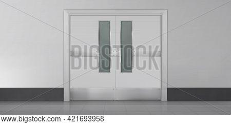 Doors In Laboratory, Kitchen, Hospital Or School Corridor. Empty Interior With Double Metal Doorway